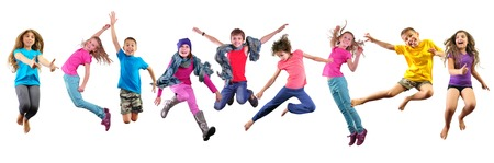 Large group of happy children exercising, jumping and having fun. Isolated over white background. Childhood, happiness, active lifestyle concept Stockfoto