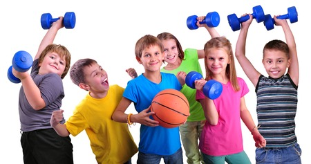 indoors: Team of sportive children friends with dumbbells and ball isolated over white . Childhood, happiness, active sports lifestyle concept