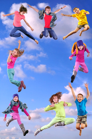 Happy children exercising, jumping and having fun form a frame. Bright light golden background. Childhood, happiness, sport active lifestyle concept Standard-Bild