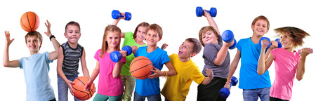 indoors: Large group of sportive children with dumbbells and ball isolated over white .
