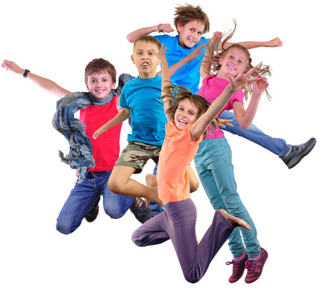 Group happy dancing jumping together children isolater over white background. Photo collage. Childhood, active lifestyle, sports and happiness concept. Stockfoto