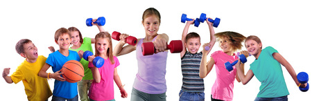 Photo collage of sport children and having training activity with dumbbels and ball. Boys and girls group doing exercises.Isolated over white background. Sport healthy lifestyle concept. Sporty childhood.