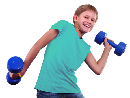 strong: Teenage sportive boy is doing exercises. Sport healthy lifestyle concept. Sporty childhood. Teenager exercising and posing with weights. Isolated over white background.