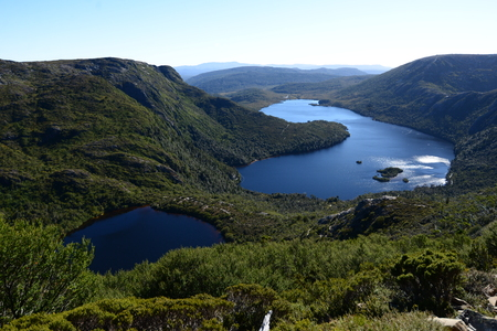 clair: Top view of Dove Lake, Honeymoon Islands, and Lake Wilks from Face Track at Cradle Mountain?Lake St Clair National Park, Tasmania, Australia