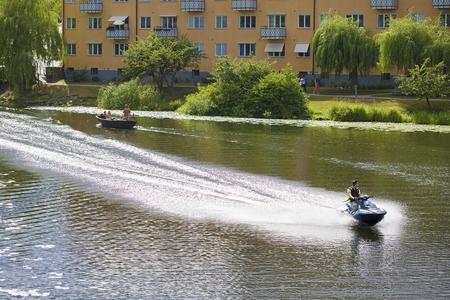 Stockholm, Sweden - August 6, 2017. Water activities.