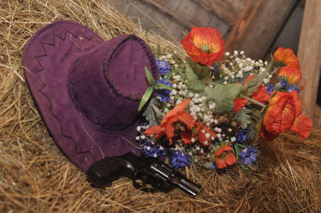 arm bouquet: Still in the hayloft Stock Photo