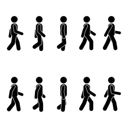 Les gens de l'homme diverses position de marche. Figure de bâton de posture. Vecteur debout personne icône symbole signe pictogramme sur blanc