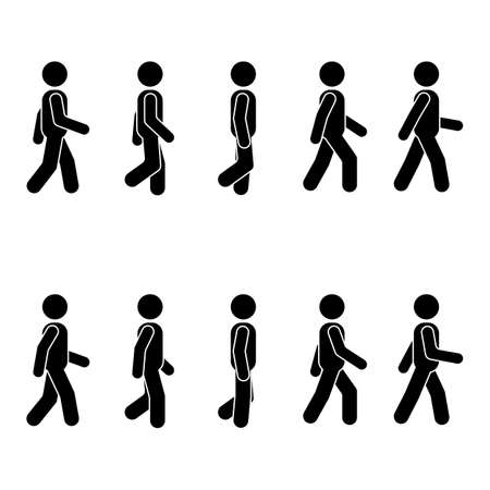 Man people various walking position. Posture stick figure. Vector standing person icon symbol sign pictogram on white Imagens - 85329308