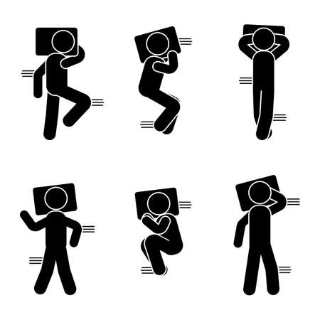 awaking: Stick figure different sleeping position set. Vector illustration of a dreaming person icon symbol sign pictogram on white Illustration