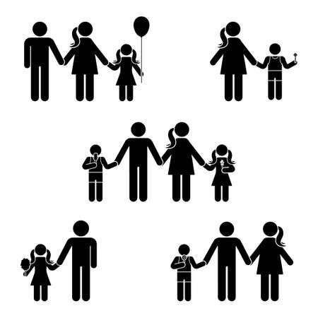 Stick figure family icon set. Posture vector illustration of standing man woman offspring symbol sign pictogram on white Illustration