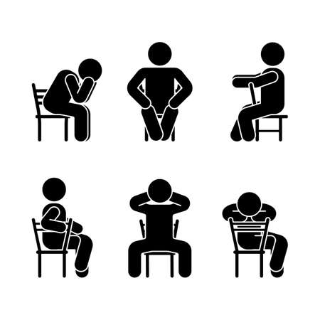 Man people various sitting position. Posture stick figure. Vector seated person icon symbol sign pictogram on white