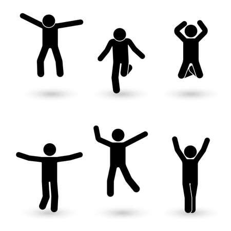 Stick figure happiness, freedom, jumping, motion set. Vector illustration of celebration poses pictogram