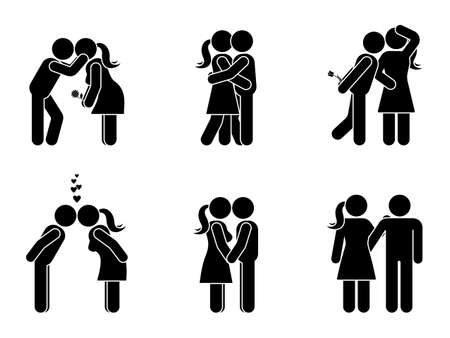 Stick figure kissing couple set. Man and woman in love vector illustration on white. Boyfriend and girlfriend hugging, cuddling and holding hand pictogram Vettoriali