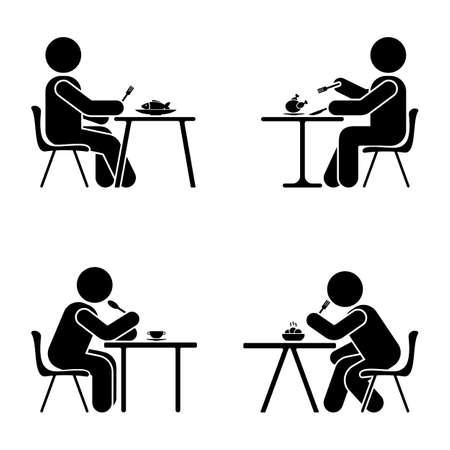 Jedzenie i posiedzenia wektor piktogram. Stick figure czarno-biała chłopiec ustawić ikonę symbolu na białym tle