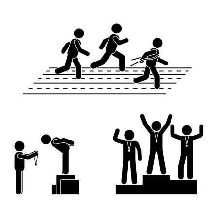 Stick figure gold, silver, bronze medal receiving award vector icon. Reward prize man pictogram. Black and white running sport posture competition Illustration