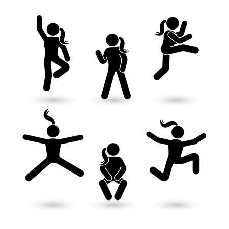 Stick figure happiness, freedom, jumping girl motion set. Vector illustration of celebration woman poses pictogram
