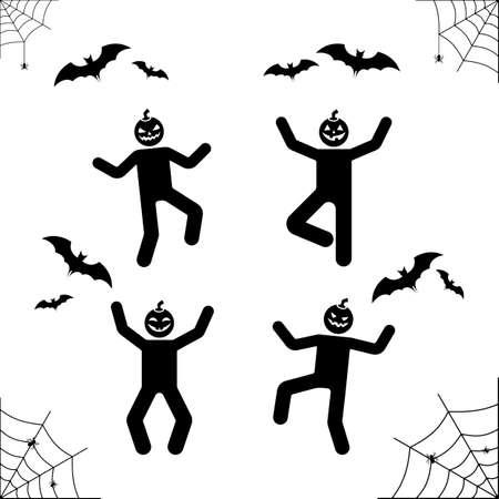 spider web: Happy Halloween stick figure pumpkin head pictogram. Vector illustration of web, bat, spider, stickman holiday icon