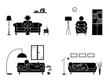 Stick figura de descanso en casa posición establecida. Sentado, acostado, leyendo el libro, escuchando música, utilizando el icono de vector portátil postura relajante en sofá y sillón. Pictograma silueta de muebles Ilustración de vector