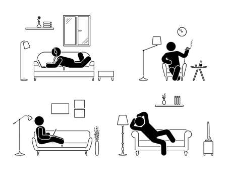 Stick figure resting at home position set. Sitting, lying, smoking cigarette, listening to music, using laptop, drinking whiskey vector icon relaxing posture on sofa and armchair. Furniture pictogram Stock Illustratie