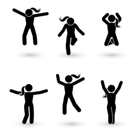 スティック図幸福、自由、ジャンプ、モーション セット。お祝いのベクトル イラスト ポーズ ピクトグラム  イラスト・ベクター素材