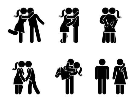 Stick figure całuje zestaw para. Mężczyzna i kobieta w miłości wektor ilustracja na białym. Chłopak i dziewczyna przytulanie, przytulanie i trzymanie piktogramu za rękę