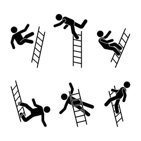 Hombre cayendo de un pictograma de figura de palo de escalera. Diferentes posiciones de icono de persona voladora establecen postura de símbolo en blanco