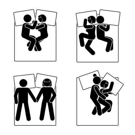 Stick figura diferente posición de dormir establecido. La ilustración del vector de diversa pareja de sueño presenta el pictograma de la muestra del símbolo del icono en el fondo blanco. Ilustración de vector