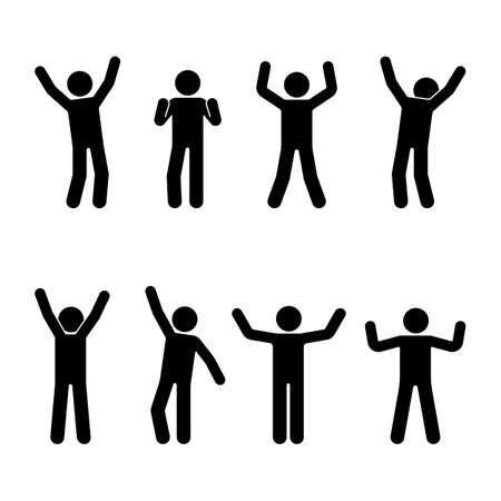Stick figure happiness, freedom, motion set. Vector illustration of celebration poses pictogram.