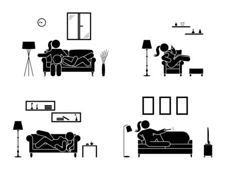 Stick figure resting at home position set. Sitting, lying, watching tv, sleeping, drinking icon relaxing posture on sofa and armchair. Furniture pictogram.