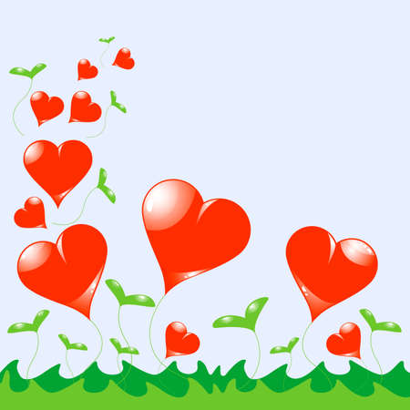 Vector separated growing heart on light blue background with grass Illustration