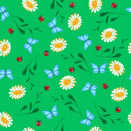 Vector seamless pattern of white chamomiles, ladybug and butterfly on green Illustration