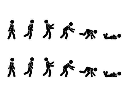 Walking man stick figure pictogram set. Different positions of stumbling and falling icon set symbol posture on white Vettoriali