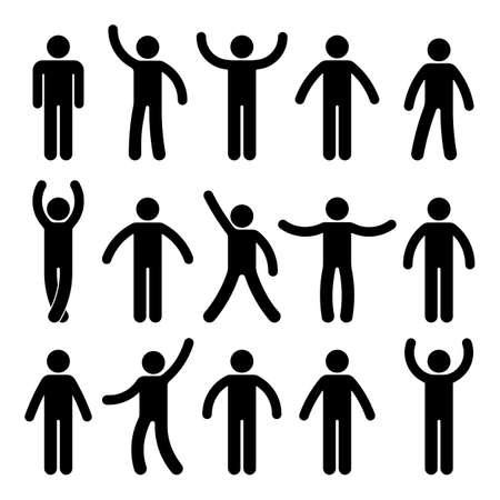 Figura stilizzata in piedi Posizione del pittogramma del segno di simbolo di posizione dell'icona della persona della persona su bianco