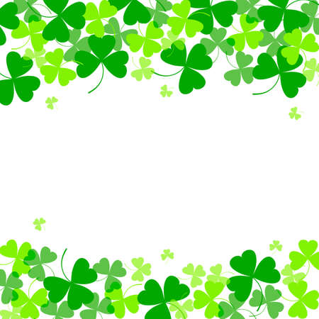 Vector illustration of clover leaves on white. St Patricks Day background. Top and bottom position