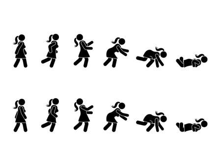 Marcher femme stick figure pictogramme ensemble. Différentes positions de trébuchant et tombant icône définie la posture de symbole sur blanc