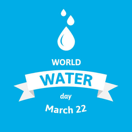 World Water Day. Vector illustration greeting card with drops. Flat style design on blue