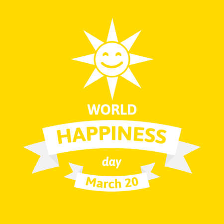 International Day of Happiness. World happy day vector illustration with sun face on yellow Illustration