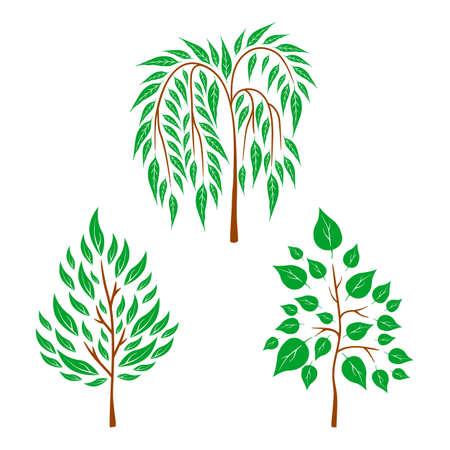 Vector platte bomen op witte achtergrond. Logo ontwerp illustratie Stock Illustratie
