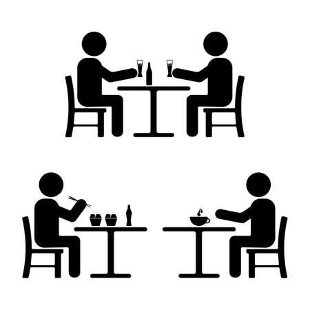 Stick figure set. Eating, drinking, meeting icon