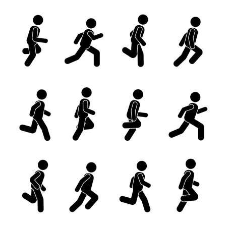 Homem pessoas várias posições de execução. Postura stick figura. Vetorial, ilustração, de, posar, pessoa, ícone, sinal, pictograma sinal, branco