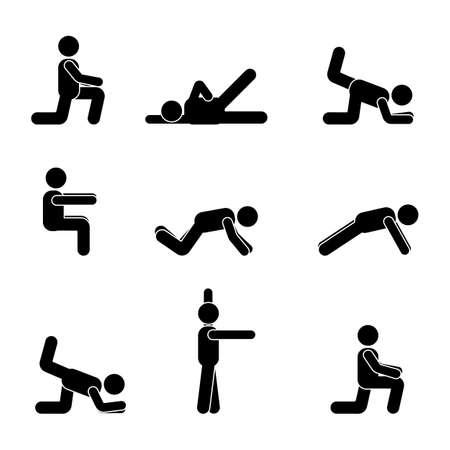 Ejercicios de entrenamiento del cuerpo estirando la figura del hombre palo. Pictograma de vector de estilo de vida saludable