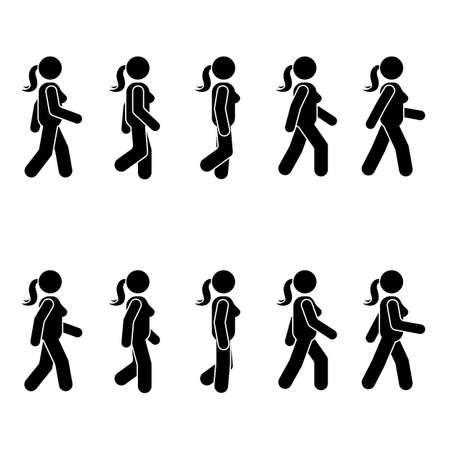 여자 사람들이 다양 한 걷는 위치. 자세 스틱 그림입니다. 흰색 서 벡터 사람 기호 아이콘 기호 그림