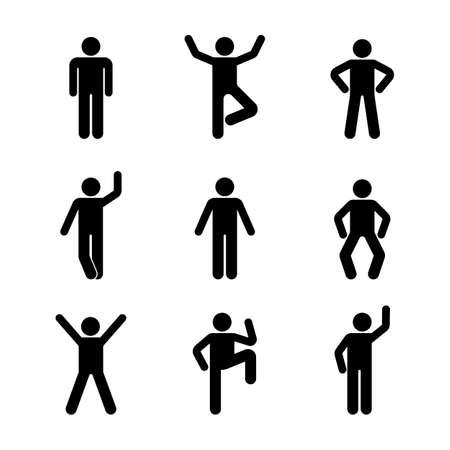 Hombre personas diferentes posición de pie. Figura de palo de postura. Vector el ejemplo de presentar el pictograma de la muestra del símbolo del icono de la persona en blanco Foto de archivo - 89620651