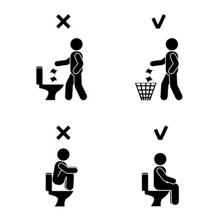 Right And Wrong Man People Position In Closet. Posture Stick Figure. Vector  Illustration Of