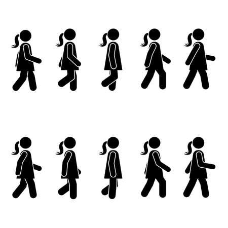 Gente de mujer varias posiciones para caminar. Figura de palo de postura. pie persona icono símbolo signo pictograma en blanco Ilustración de vector