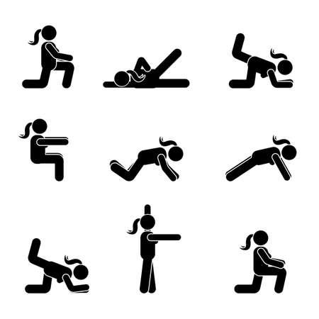 Ejercicios de entrenamiento del cuerpo que estira la figura del palillo de la mujer. Pictograma de vector de estilo de vida saludable