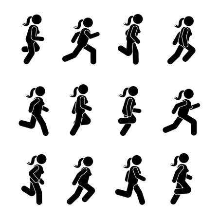 Woman people various running position. Posture stick figure. Vector illustration of posing person icon symbol sign pictogram on white