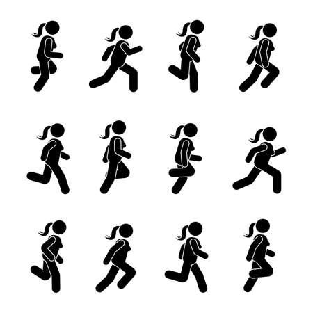 Femme personnes diverses positions en cours d'exécution. Posture Stick Figure. Illustration vectorielle de posant personne icône symbole symbole pictogramme sur blanc Banque d'images - 89833401