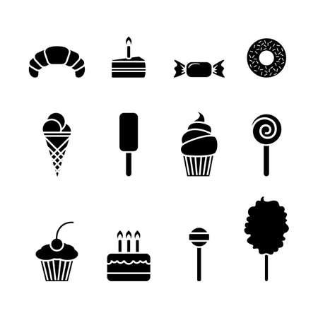 Dessert-Icon-Set. Getrenntes flaches Symbol des süßen Lebensmittels. Vektorzeichenillustration auf Weiß Vektorgrafik