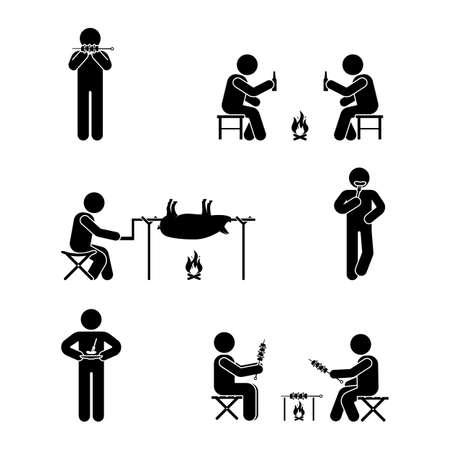 Stick figure picnic set. Vector illustration of barbecue position pictogram